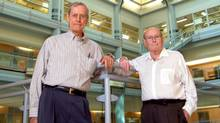 Toronto stem cell researchers Dr. James Till, left, and Dr. Ernest McCulloch. (The Canadian Press)