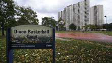 A photo taken Oct 20 2011 of the basketball court at Dixon park located at 350 Dixon Rd. in the northwest part of Toronto. (Fred Lum/The Globe and Mail)