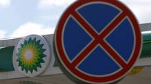 A traffic sign stands near a BP petrol station in Moscow July 24, 2012. (MAXIM SHEMETOV/REUTERS)