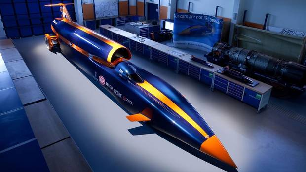 The Bloodhound SSC is a one-off project, designed to shatter the world land-speed record. Currently under development by a British team, the SSC is designed to hit 1,689 km/h. The SSC has three motors: A jet engine accelerates the car to 300 km/h, where a rocket motor takes over and accelerates the car through the speed of sound. The third motor is a Cosworth V-8 (normally installed in F1 cars) that is used as a high-capacity fuel pump for the rocket engine. The wheels are machined from solid aluminum, and there are no production plans for the car. (Flow Images)