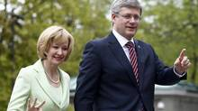 Prime Minister Stephen Harper arrives with his wife, Laureen, for a cabinet shuffle at Rideau Hall on May 18, 2011. (Chris Wattie/Reuters/Chris Wattie/Reuters)