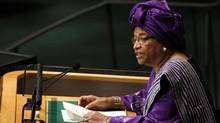 Liberian President Ellen Johnson Sirleaf addresses UN General Assembly on Sept. 26, 2012. (KEITH BEDFORD/REUTERS)