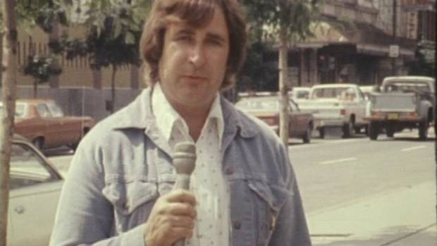 A still from film footage shot by CFCN shows Ralph Klein during his time as a reporter for the station in the 1970s. (Courtesy the Glenbow Museum)