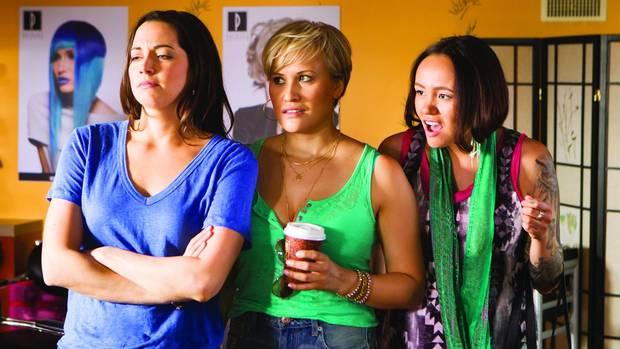 Jennifer Pudavick (Bailey), left, Brittany Leborgne (Zoe) and Maika Harper (Anna) in Mohawk Girls.