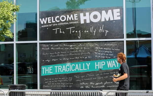 A sign at the Rogers K-Rock Centre in Kingston, Ont., on August 19, 2016, heralds the return of local heroes The Tragically Hip the day before the final show of their Man Machine Poem tour.