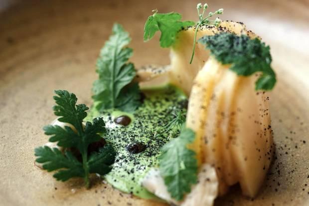 Charcoal roasted celeriac, chardonnay grapes, little neck clam and celery mayonnaise.