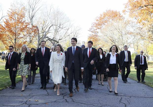 Prime Minister Justin Trudeau and his wife, Sophie Grégoire, arrive with his cabinet before his swearing-in ceremony at Rideau Hall in Ottawa on Nov. 4, 2015.