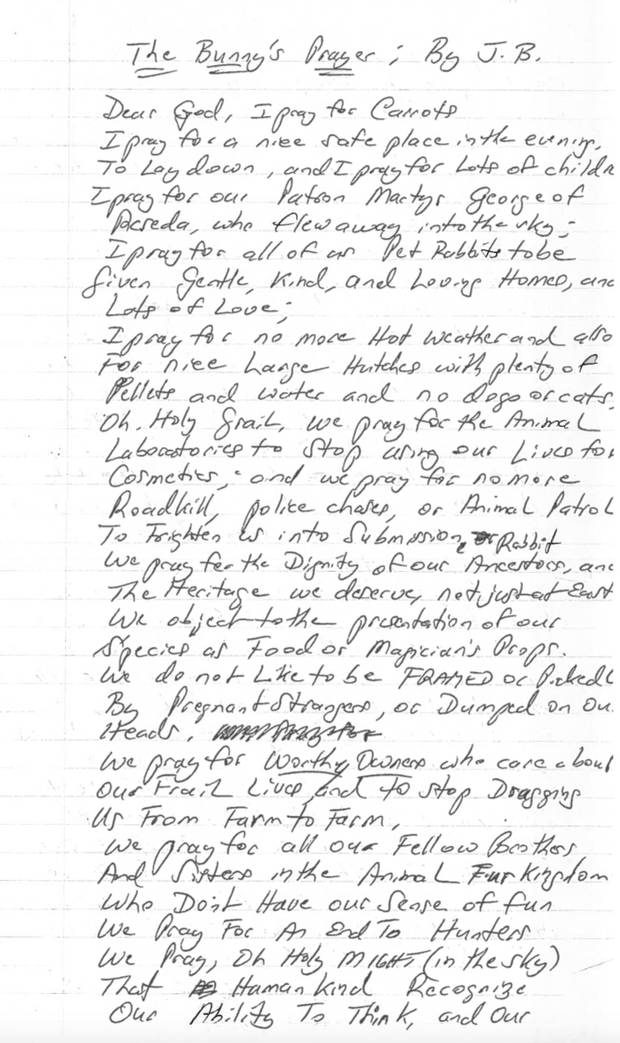 Around 2000, while he was in prison, Mr. Brylla wrote this poem from a rabbit's point of view.