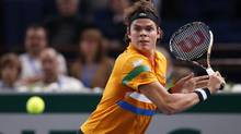Milos Raonic of Canada prepares to hit a return to Jeremy Chardy of France during the Paris Masters tennis tournament October 31, 2012. (BENOIT TESSIER/REUTERS)