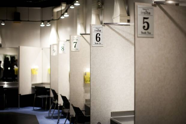 Injection stalls at Insite, the legal supervised drug injection site, in Vancouver, B.C. on Friday July 17, 2015.