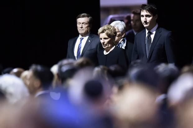Dec. 21: Toronto Mayor John Tory, Ontario Premier Kathleen Wynne and Prime Minister Justin Trudeau arrive at the Shermans' memorial.