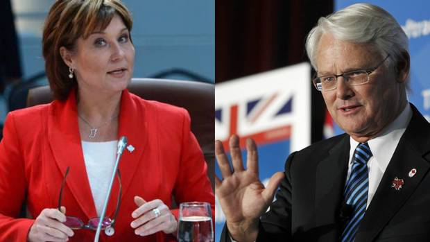 B.C. premiers Christy Clark and Gordon Campbell.