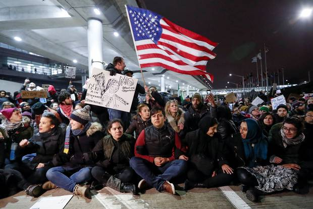 Jan. 28, 2017: People gather at Chicago's O'Hare airport to protest against the original Trump travel ban.