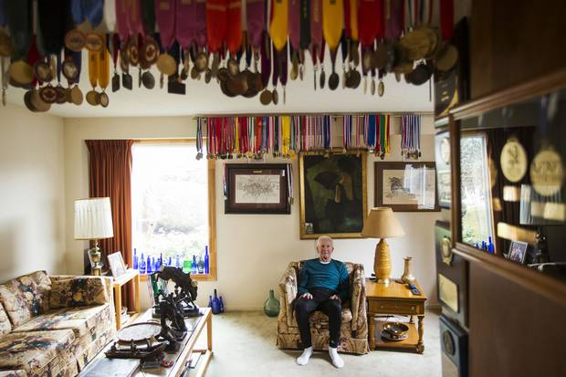 Medals adorn the ceiling of Earl Fee's living room in Mississauga.