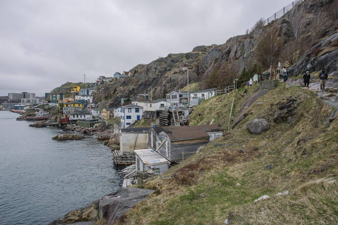 View of St John's harbour and salt box houses at the North Head Trail at Signal Hill in St John's, Newfoundland.