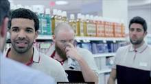 A screenshot from rapper Drake's video for the song 'Started From the Bottom,' shot in part, in an Ontario Shopper's Drug Mart store. (YouTube)