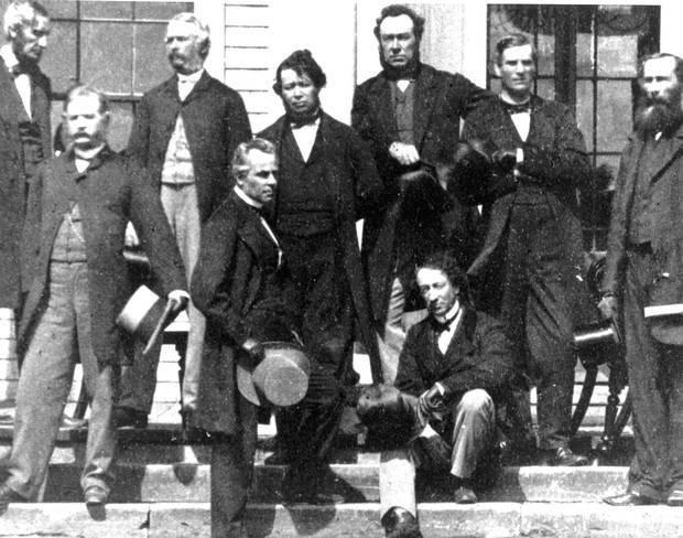 Several of the Fathers of Confederation, photographed at the Charlottetown Conference in September, 1864.