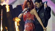 Drake and Rihanna perform 'What's My Name' at the 53rd annual Grammy Awards in Los Angeles, California February 13, 2011. (LUCY NICHOLSON/Reuters)