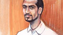 Omar Khadr appears in an Edmonton courtroom on Sept. 23, 2013, in this artist's sketch. (Amanda McRoberts/The Canadian Press)