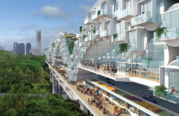 Living Bridges, a proposal by Toronto architect Tye Farrow to place a condominium community atop the city's Bloor Viaduct.