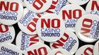 """No Casino Toronto"" buttons were handed out by Maureen Lynett, Sheila Lynett, and Peggy Calvert, who are opposed to a casino, during a casino consultation and discussion event at Toronto City Hall on Wed., January 9, 2013."
