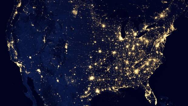 "The United States is seen at night in a composite image constructed using cloud-free night images from a new NASA and National Oceanic and Atmospheric Administration satellite. The image shows ""the glow of natural and human-built phenomena across the planet in greater detail than ever before,"" NASA says. (NASA/AP)"