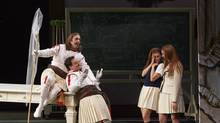 Robert Gleadow as Guglielmo, Paul Appleby as Ferrando, Wallis Giunta as Dorabella and Layla Claire as Fiordiligi in the Canadian Opera Company's new production of Così fan tutte, 2014. Conductor Johannes Debus, director Atom Egoyan, set and costume designer Debra Hanson, and lighting designer Michael Walton. (Michael Cooper)