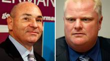 Toronto mayoral contenders George Smitherman, left, and front-runner Rob Ford (composite photograph).