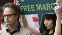 "Marc Emery, the self-described ""Prince of Pot"" speaks to reporters outside the B.C. Supreme Court in Vancouver, Monday, May 10, 2010 prior to turning himself in to be extradited to the United States as his wife Jodie, right, looks on. (Jonathan Hayward/ The Canadian Press/Jonathan Hayward/ The Canadian Press)"