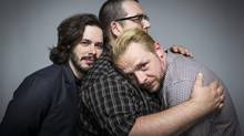 The movie by Edgar Wright, left, Nick Frost, centre, and Simon Pegg is about five blokes who go on a pub crawl for the ages – even if it is alienating. (CHAD BATKA/NYT)