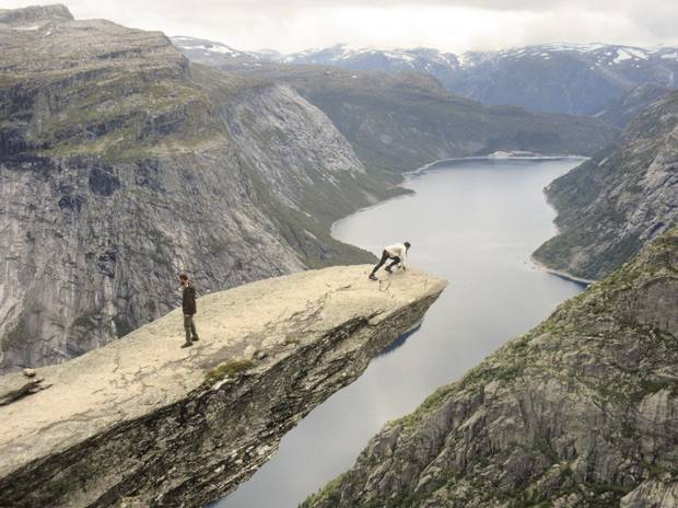Trolltunga – Norwegian for Troll Tongue – can only be accessed by foot.