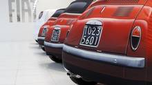 Fiat cars are seen at a dealership in Rome Oct. 30, 2012. Fiat downshifted its full-year forecasts to the lower end of its range on Tuesday and said net debt would overshoot a previous target. (ALESSANDRO BIANCHI/REUTERS)