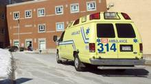 An ambulance arrives at a Quebec hospital. (Ryan Remiorz/Ryan Remiorz/The Canadian Press)