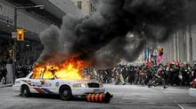 Anti-summit protesters clash with police in downtown Toronto June 25, 2010 during the G20 summit. (Kevin Van Paassen/Kevin Van Paassen/The Globe and Mail)