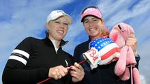 Morgan Pressel and her USA Boxing Glove Driver headcover take on Paula Creamer and her Pink Panther headcover during the final day of practice for the 2010 Ricoh Women's British Open at Royal Birkdale (David Cannon/2010 Getty Images)