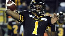 Hamilton Tiger-Cats quarterback Henry Burris throws a pass against the Montreal Alouettes during the first half of their CFL game in Hamilton September 28, 2012. (MIKE CASSESE/REUTERS)