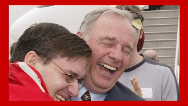 <p>Prime Minister Paul Martin gets a hug from a member of his campaign staff upon his arrival in Ottawa Tuesday June 29, 2004. </p>