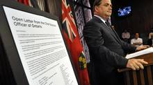 Ontario's Chief Elections Officer, Greg Essensa, announces that a privacy breach has occurred with respect to some Ontario voters' personal information during a news conference at Queens Park, July 17, 2012. (J.P. MOCZULSKI/J.P. MOCZULSKI)