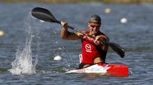 Adam Van Koeverden (L) of Canada paddles to win the men's K1 1000m final during the ICF Canoe and Kayak Sprint World Championships in Szeged, 170km (106 miles) south of Budapest, August 19, 2011. (Laszlo Balogh/Reuters/Laszlo Balogh/Reuters)