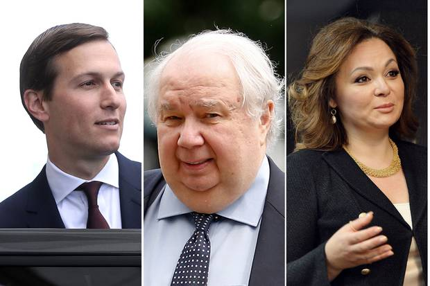 Jared Kushner, right, the U.S. President's son-in-law, has been in political trouble recently for his past meetings with Russians such as ambassador Sergey Kislyak, middle, and lawyer Natalia Veselnitskaya.