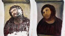 This combination of two undated handout photos made available by the Centro de estudios Borjanos shows the 20th century Ecce Homo-style fresco of Christ before (left) and after (right) an elderly amateur artist Celia Gimenez, 80, took it upon herself to restore it in the church of the northern Spanish agricultural town of Borja. (Centro de estudios Borjanos/AP)