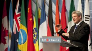 Prime Minister Stephen Harper speaks at the chair's press conference at the end of the G20 Summit in Toronto.