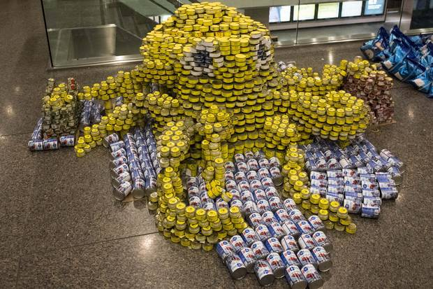 An octopus scupture for Diamond Schmitt's Canstruction event.