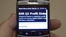RIM's third-quarter results, Dec. 15, 2011, as seen on a BlackBerry. The company faces a make-or-break year in 2012. (Ryan Remiorz/The Canadian Press/Ryan Remiorz/The Canadian Press)