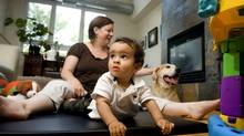 Denise Joyce trained Hank, her eight-year-old rescue dog, in child-friendly commands well before the birth of her son Jonah.