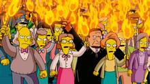 "In this animated image created by Matt Groening and released by Twentieth Century Fox, the entire town of Springfield is transformed into an angry mob, in a scene from ""The Simpsons"" movie. (Matt Groening)"