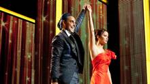 Caesar Flickerman (Stanley Tucci) and Katniss Everdeen (Jennifer Lawrence) in The Hunger Games. (Murray Close)