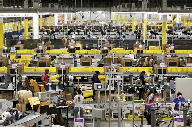 The Amazon fulfillment centre in Brampton, Ont., on July 21, 2017.