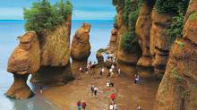 The Bay of Fundy has the hightest tides in the world, ranging from 3.5 metres at their lowest, to 16 metres and more. (New Brunswick Tourism)