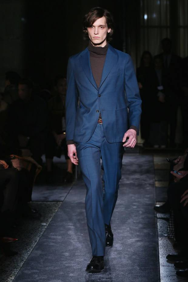 Boglioli: In a calm shade of steel blue, this Boglioli look was dressed down with a brown turtleneck.
